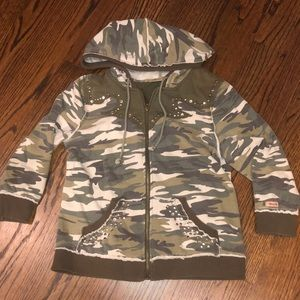 Miss Me camo and studded zip up hoodie
